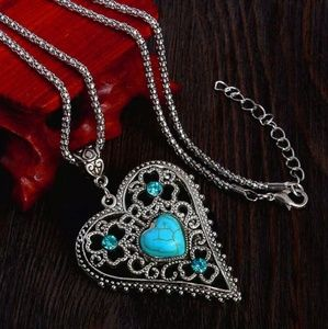 Silver Heart Filigree Turquoise Pendant Necklace